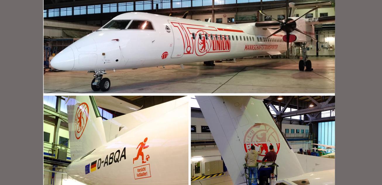Spezialbeklebung: German Airways widmet Dash 8 dem 1. FC Union Berlin | aeroTELEGRAPH